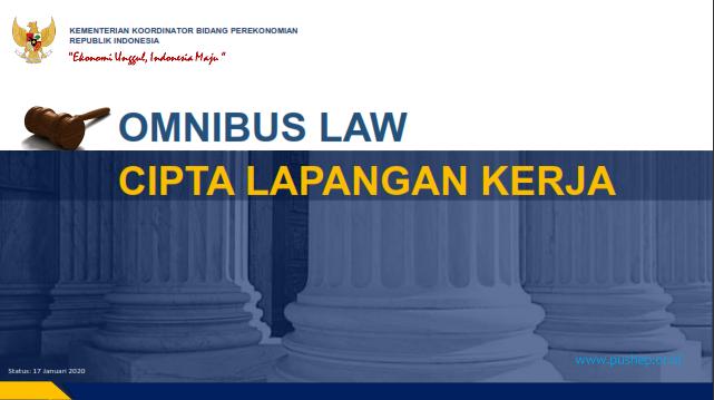 Paparan Penjelasan Lengkap Omnibus Law Rancangan Undang Undang Cipta Kerja Pushep